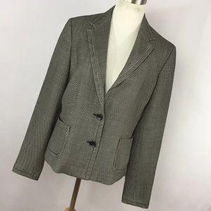 Max Mara 10 Jacket Blazer Black White Stripe V